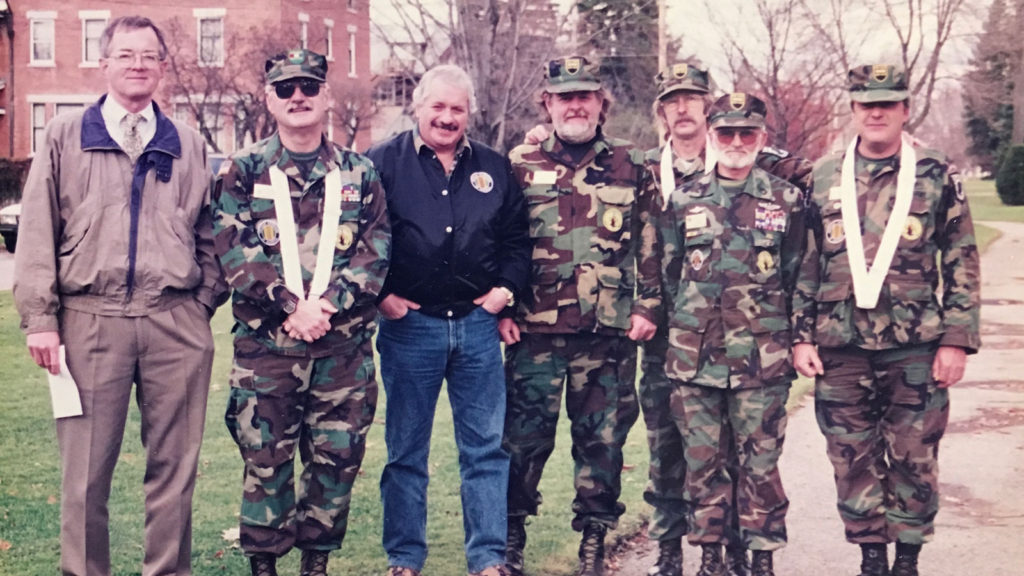 Veterans Day at site of future Vietnam memorial in Rutland, 1997
