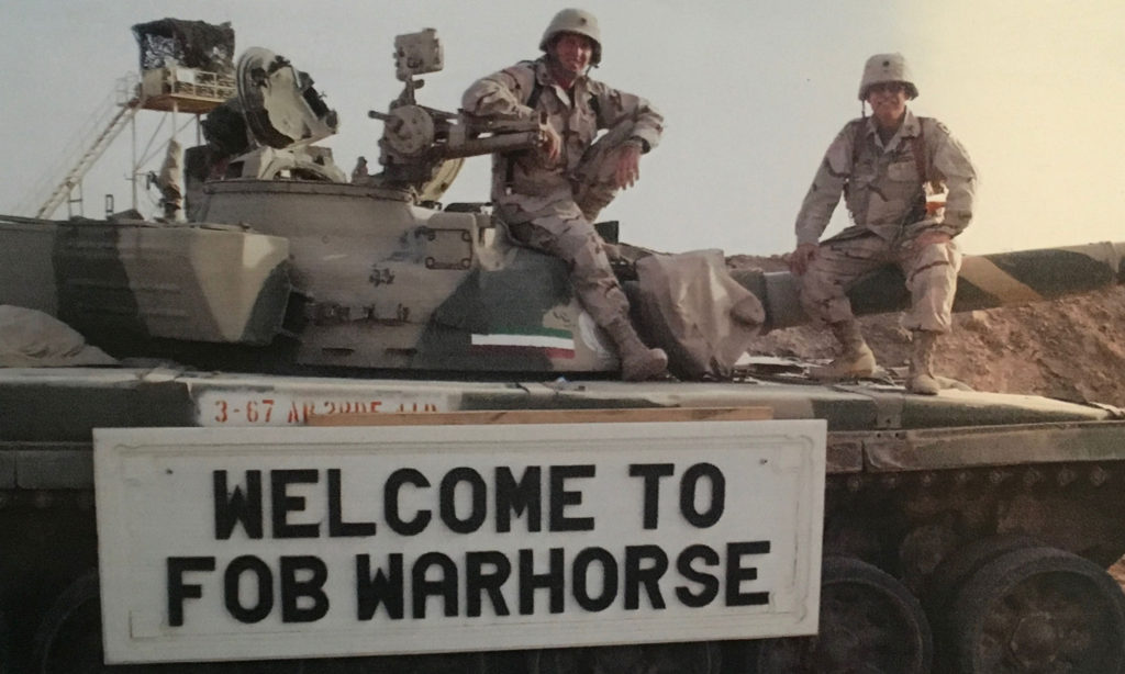 LTC Truhan(right) on tank at FOB Warhorse